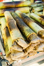 Sticky rice in bamboo thai dessert made from bake Royalty Free Stock Image