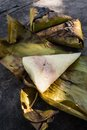 Sticky rice with coconut milk and taro kao niew ping sai phuek Royalty Free Stock Photos