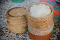 Sticky rice inside the bamboo container Royalty Free Stock Photo