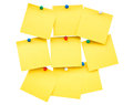Sticky yellow blank note and pin on isolated Royalty Free Stock Photo