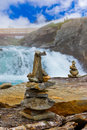 Stigfossen waterfall and stones stack - Norway Royalty Free Stock Photo