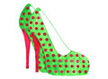 Stiletto high heel polka dot watercolor thin shoes green and pink dotted shoe also known as a hand painted Royalty Free Stock Images