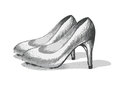 Stiletto sketch illustration of in black and white Royalty Free Stock Image
