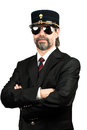 Stilish man in gendarme stile hat and in sunglasses Royalty Free Stock Images