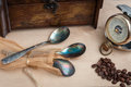 Still life, antique copper spoon, old time, three, hand pocket barometer Royalty Free Stock Photo