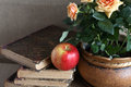 Still life apple old books near flowerpot roses Stock Photography