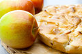 Still life of apple pie and apple Royalty Free Stock Images