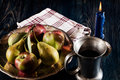 Still life with apples and pears dark light Stock Photos