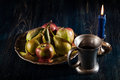Still life with apples and pears dark light Stock Image