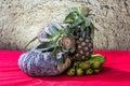 Still life art photography on banana pumpkin and pineapple Stock Photo