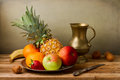 Still life assorted fruits wooden table Stock Image