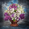 Still life a beautiful lilac and lily of the valley in the bask basket Stock Photo