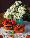 Still life with berry andflowers Stock Photo