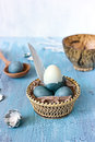 Still life with blue easter eggs in a wattled plate Royalty Free Stock Photo