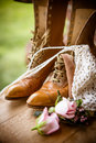 Still life of boots and flowers Royalty Free Stock Photo