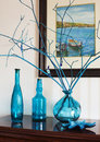Still life with bottles in blue tones. Royalty Free Stock Photo