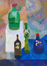 Still life with bottles child s drawing of Stock Photo