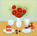 Still life with a bouquet of chocolates and coffee dessert illustration Royalty Free Stock Photo
