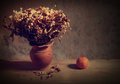 Still life with bouquet of dried roses in clay vase and fruit grunge background Stock Photo