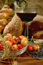 Still life with bread, cherrys, and wine Royalty Free Stock Photo
