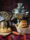 Still life with bread and a cup of tea Royalty Free Stock Image