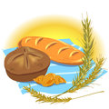 Still life with bread products illustration baguette croissant and spikelets Stock Image