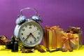 Still life with broken alarm clock, camera film, vintage key, de Royalty Free Stock Photo