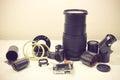 Still life with broken camera lens, camera film, Cmos sensor, to Royalty Free Stock Photo