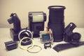 Still life with broken camera lens, flash, camera film, Cmos sen Royalty Free Stock Photo