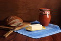 Still life butter bread milk Stock Photography