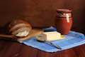 Still life butter bread milk Royalty Free Stock Photography