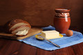 Still life butter bread milk Royalty Free Stock Image