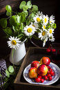 Still life with camomile flowers in jar, glass with fruit drink,peaches and cherry on the plate. Royalty Free Stock Photo