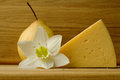 Still life with cheese and pear Royalty Free Stock Photo