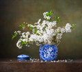 Still life with of cherry blossoms in a chinese vase Royalty Free Stock Photo