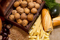 Still life with chest, nuts, pumpkin, bread Royalty Free Stock Images