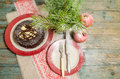 Still life with chocolate cake, Christmas tree and pomegranate Royalty Free Stock Photo