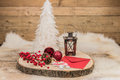 Still life with Christmas decoration. Wood background. Royalty Free Stock Photo