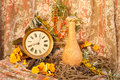 Still life with clock mushrooms and sea buckethorn Royalty Free Stock Photos