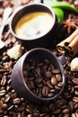 Still life with coffee cup and roasted beans Stock Photography