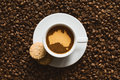 Still life - coffee with map of Australia Royalty Free Stock Photo