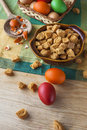 Still life colorful easter eggs crouton with and Royalty Free Stock Photo