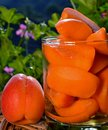 Still life with cut apricots in a glass, one whole fruit and geranium flowers in background. Royalty Free Stock Photo