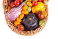 Still life with different color tomatoes and eggplants Royalty Free Stock Images