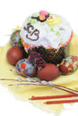 Still life easter cake and colored eggs Stock Photos