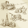 Still life food meat vegetables hand drawn collection Stock Photo