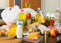 Still life with foodstuffs on table in home Royalty Free Stock Photography