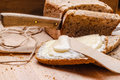 Still life fresh bread with butter and honey Royalty Free Stock Photo