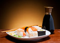 Still life fresh sushi bottle soy sauce Stock Photo