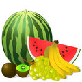 Still life fruits banana watermelon grape kiwi Stock Images